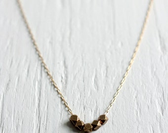 Faceted Cube Necklace with 14k Gold Filled Chain