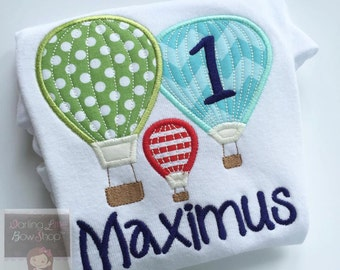 Hot Air Balloon Birthday bodysuit or shirt -- Oh The Places You'll Go -- birthday shirt or bodysuit for boys
