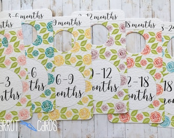 Pastel Roses Baby Clothes Dividers, Floral Closet Dividers, Baby Shower Gift, Baby Girl Gift, Pastel Nursery, Pastel Rainbow