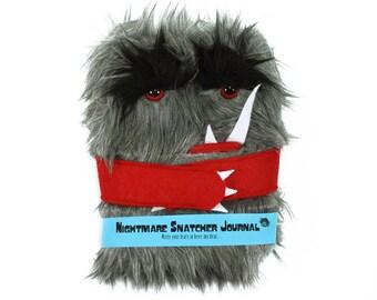 Nightmare Snatcher children's monster journal, gray red fuzzy Winston monster book