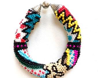Comic book bracelet, Beaded bracelet, Colorful bracelet, Gift for best friend, Birthday gift, Crochet bracelet, Bead crochet, Magnetic clasp