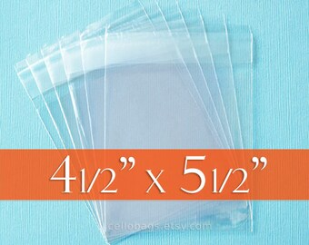 """100 4.5 x 5.5 Inch Resealable Cello Bags, Clear Cellophane Plastic Packaging, Acid Free (4 1/2""""  x 5 1/2"""")"""