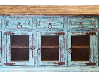 80 inch Hi End Rustic TV Stand 5 Doors 5 Drawers Western Solid Wood Turquoise Distressed Rough Cut Finish Ships Already Assembled