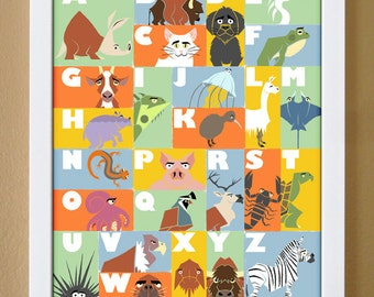 Alphabet poster, 11 x 14, custom colors, ABC art, animal alphabet, baby alphabet, nursery art, kids modern wall art