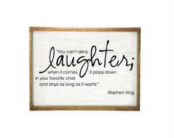 You can't deny laughter when it comes it plops down on your favorite chair rustic farmhouse style distressed wood picture frame