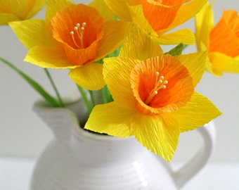 SIX Daffodil-handmade paper flowers for table decoration,homedecor