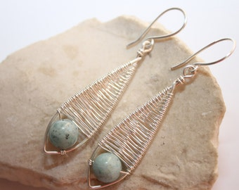 Amazonite silver plated earrings