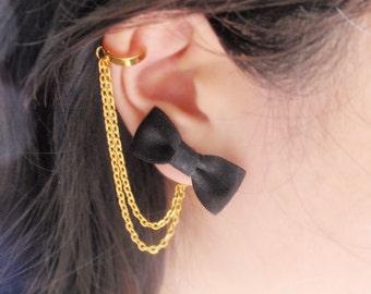 Black Bow Gold Double Chain Ear Cuff Earrings (Pair)