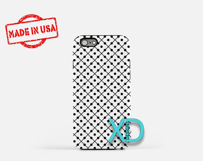 Dotted Line Phone Case, Dotted Line iPhone Case, Domino iPhone 7 Case, Black, White, Domino iPhone 8 Case, Lined Tough Case, Clear Case