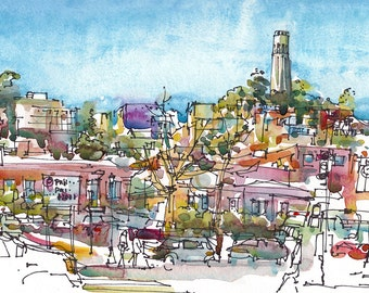 San Francisco Coit Tower, print of a watercolor sketch, 8x10 inches