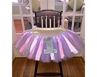 First Birthday Party Highchair Skirt - Pink and Purple, Pink And Purple High Chair Tutu , One Banner, Silver Summer arkle One Highchair Skir