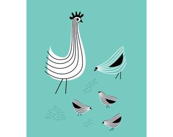 Kitchen Wall Art, Chicken Print, Kids Room Decor, Rooster Art Print