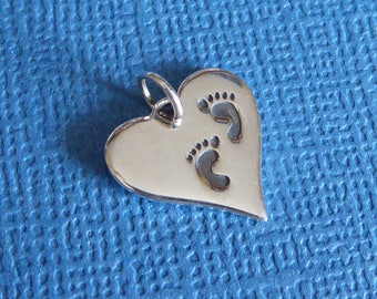 Sterling Silver Heart With Footprints Charm ~ Pendant