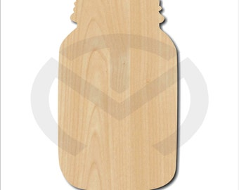 Mason Jar - 01589- Unfinished Wood Laser Cutout, Door Hanger, Wreath Accent, Ready to Paint & Personalize, Various Sizes