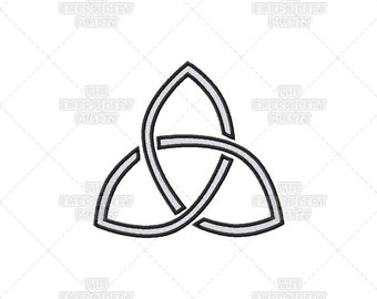 Woven Hollow Triquetra Stencil Effect Celtic Spiritual Religious Sacred Symbol Machine Embroidery Pattern Design