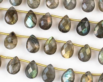 Labradorite Faceted Hand Cut Gemstone Briolette Beads - Size 7x10mm - Natural Grade A - Top Drilled Horizontal - 02 pieces per order
