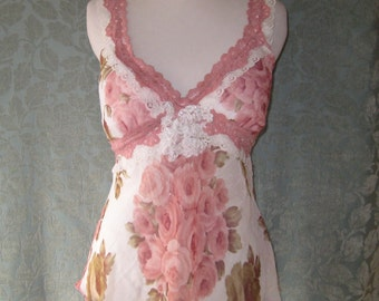 Romantic Lace and Roses Camisole, Upcycled Cami, Altered Couture