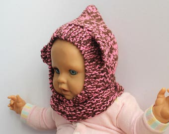 BEAR BALACLAVA brown/pink, hand knitted baby hat, kids knitted hat with ears