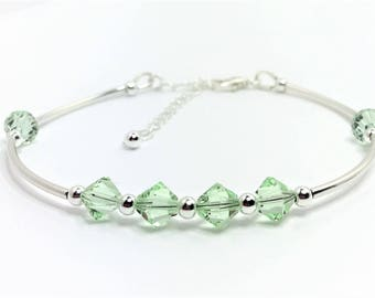Green Crystal with Sterling Silver Bracelet Swarovski Elements Minimalist Jewelry Dainty Tube Bracelet Pretty Chrysoprase Gift Under 25