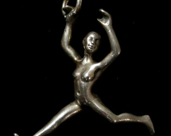 Silver figure, miniature dancer,  pendant or earring, artist made silver charm