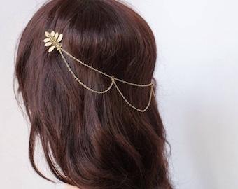 Gold Wedding Headpiece with swags - Boho Bridal Headpiece - Hair Chain style Hair Accessory - Bohemian Wedding dress - Bridesmaids headpiece