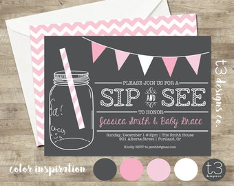 Sip and See Invitation, BABY SHOWER invitation, baby girl, baby shower, girl, baby shower invitation, sip n see, sip and see, 1101