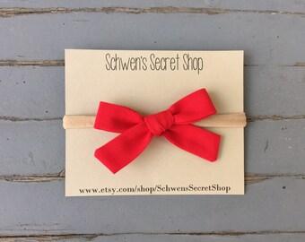 Red baby girl bow, baby headband, hand tied bow, fabric baby bow, baby girl headband, nylon headband, infant headband, baby hair bow