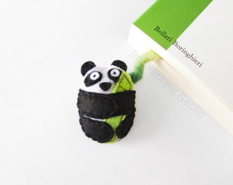 Felt Panda Bookmark, cute stuffed animal, stuffed panda with bamboo plant, back to school gift, book lovers gift, made to order
