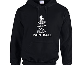 Keep Calm And Play Paintball Mens Hoodie  Funny Humor