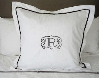 Monogram Euro Pillow Sham with Mini Pom Pom Trim / Monogram Bedding / Monogram Pillow
