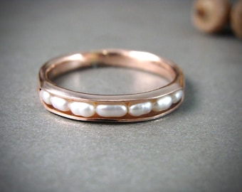 ready to ship .... size 7 .. solid 14k rose gold petite pearl stack ring