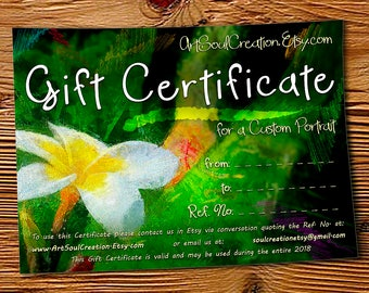 Gift Certificate for a Custom Portrait. Commission Artwork from Your Photo Gift Voucher. Family, Pet, Dog, Wedding, House, Christmas Gift
