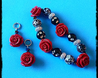 Beaded Bracelet:  Vintage Style Clay Polymer Red Roses (matching hearing aid charms available at a discounted bundle price )!
