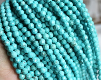 6mm magnesite, faceted magnesite, turquoise magnesite, round beads, boho beads, gemstone rounds, 6mm turquoise,