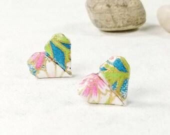 Boucles d'oreilles pastelles | Boucles d'oreilles en coeur | Bijou en papier | Origami par Ökibo