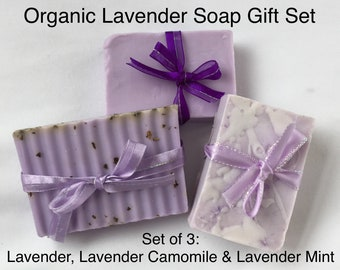 Organic LAVENDER Soap Gift Set — Handmade Soap / Organic Soap Gift Set for Woman / Natural Soap Sampler / Organic Soap Set / Artisanal Soap