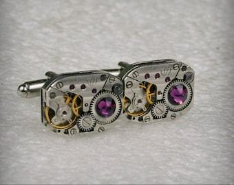 Watch Movement Cufflinks with Amethyst Swarovski crystals - Steampunk Cufflinks . Steampunk jewelry , Clockwork Watch Movement Cuff Links
