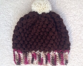 Women's Crochet Hat, Brown And Pink Hat, Slouchy Hat, Adult Beanie, Brown Crochet Hat, Cute Striped Hat, Fall Accessories, Hat With Pom Pom