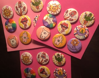 Cosmic eye/trippy hippie pin button pack 1inch buttons