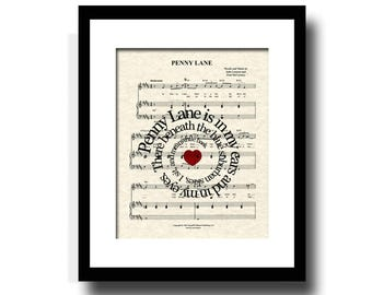 Penny Lane Song Lyric Sheet Music Art Print, Custom Art Print, Names and Date, Nursery Art, Kids Art, Custom Music Art