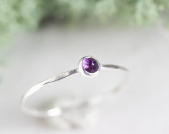 Amethyst ring - skinny stackable ring with rose cut Amethyst stone, February Birthstone, sterling silver, 9k gold