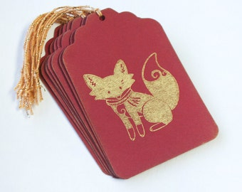 Gold Holiday Fox Tag Set 10 Blank holiday gift present tag christmas party