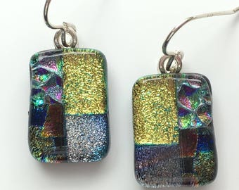 Golden Dusty Pink Dichroic Earrings - Pink Fused Glass - Gold Glass Earrings - Mosaic Drop Earrings - Fused Glass Jewellery EE 607