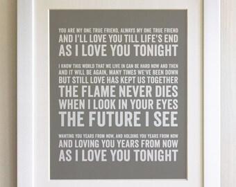 Framed lyrics print fleetwood mac everywhere colours