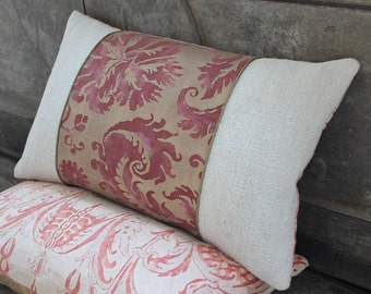 Lumbar Fortuny Pillow in De Medici Red and Silvery Gold, back in Mazzarino