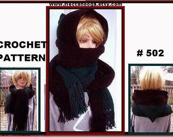 scarf CROCHET PATTERN , Hat - Hooded cowl ,  For Women And Children , num. 502, Instant Download