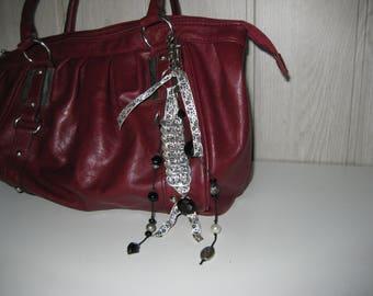 Jewelry bag/key Ribbon and beads