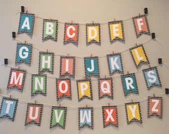 ALAPHABET banner // classroom banner // wedding banner // party banner // a-z banner// create your own banner// kids room