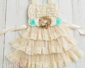 Burlap Flower Girl Dress, Country Flower Girl Dress, Lace Flower Girl Dress, Shabby Chic Flower Girl, Rustic Flower Girl Dress, Easter dress