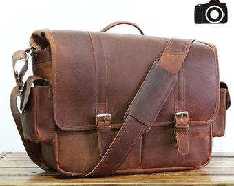 "17"" Grand Leather Camera Bag DSLR - Large Camera Case - Padded Camera Bag - Camera Reflex - Fashionable Camera Bag - SLR - Photographers"